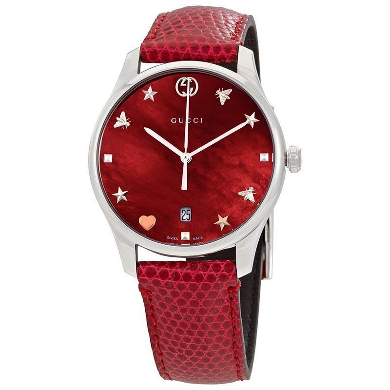 GUCCI 古驰小蜜蜂红色系满天星网红款石英女士手表YA1264041