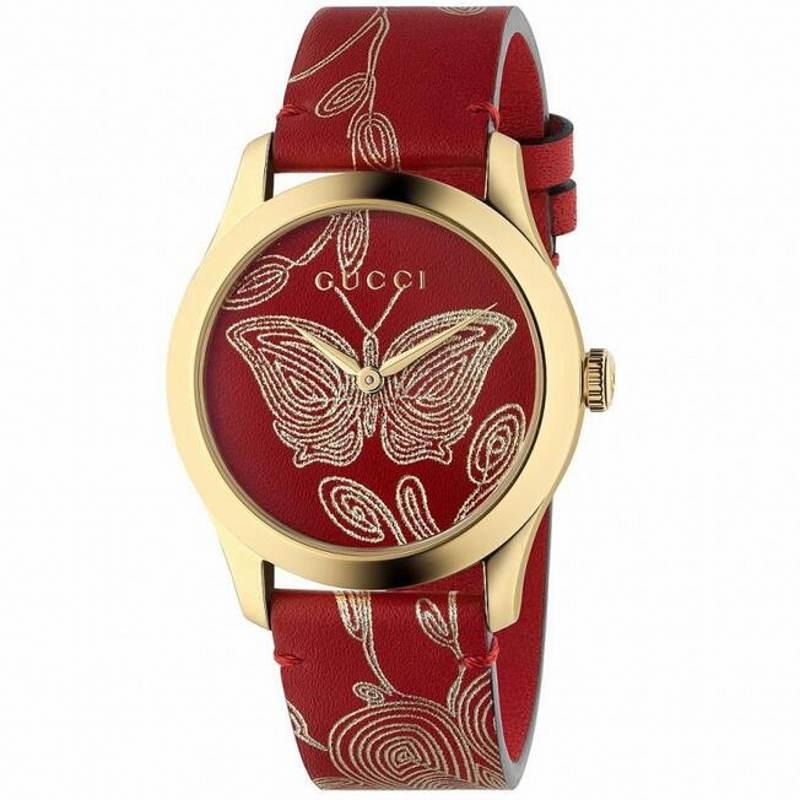 GUCCI古驰 G-TIMELESS系列石英女表 酒红色印花皮表带腕表 YA1264054